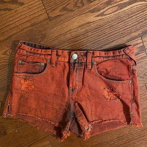 Free People red denim shorts